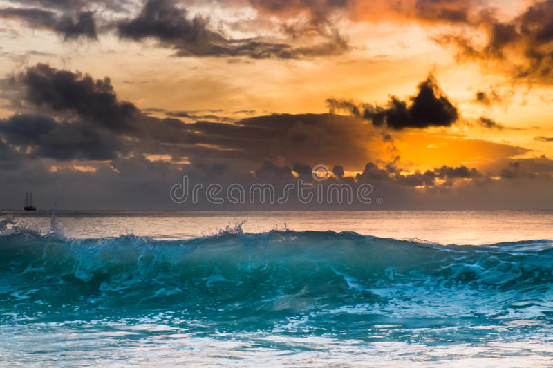 Sunset at Seychelles stock image