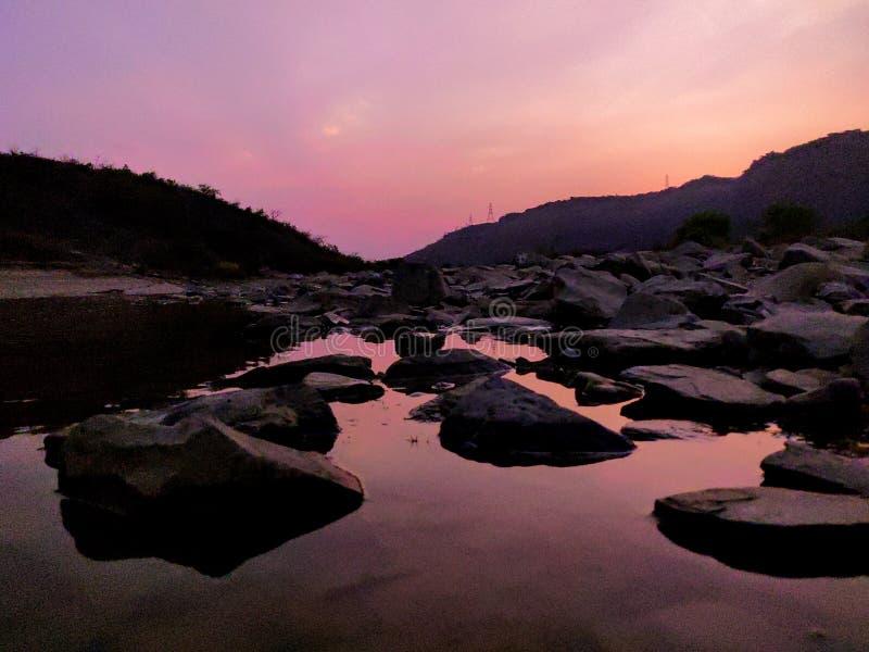 Sunset shadow of lake and beautiful scene that you& x27;ll never forget. Sunset shadow of lake and beautiful scene that you will never forget stock photo