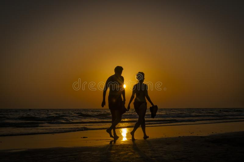 Sunset, and shadows in Cadiz stock photography