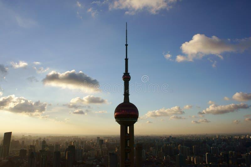 Sunset of Shanghai stock image