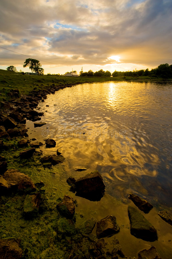 Sunset on the Shannon. Sunset on the River Shannon at Jamestown, Co.Roscommon, Ireland stock photo