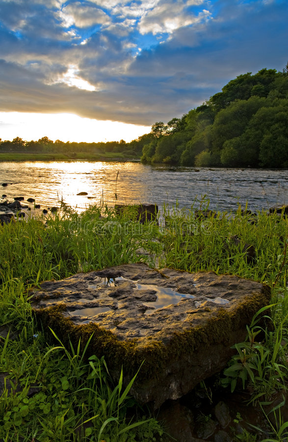 Sunset on the Shannon. Sunset on the River Shannon at Jamestown, Co.Roscommon, Ireland stock photos
