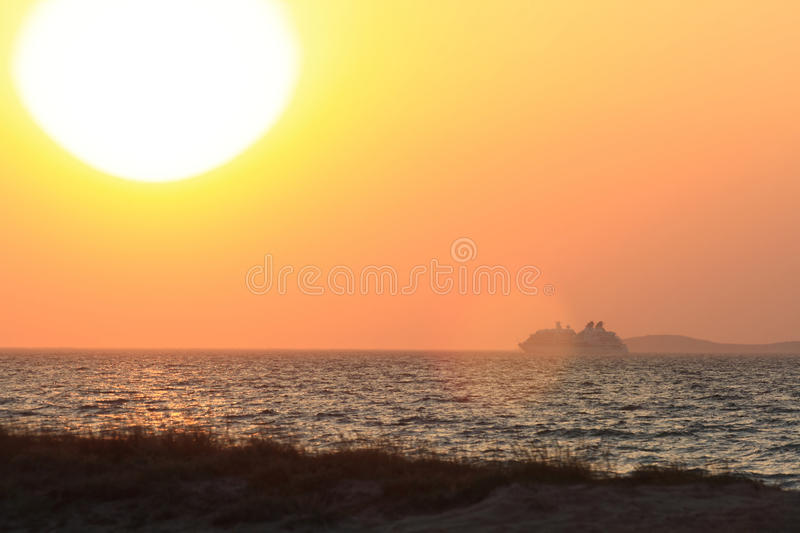 Download Sunset and ship stock photo. Image of holiday, relax - 26402202