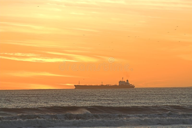 Download Sunset Ship stock photo. Image of cargo, diego, color, surf - 514134