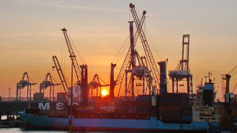 Sunset, Ship, Dusk, Port stock photo