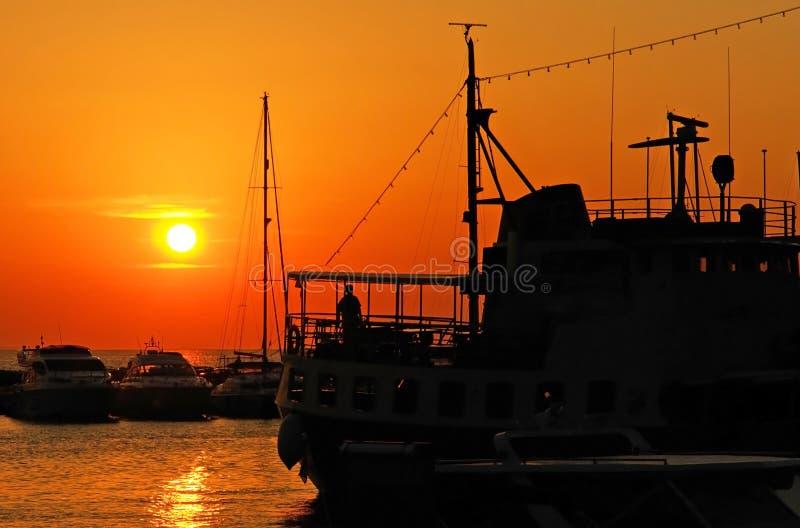 Sunset ships stock image