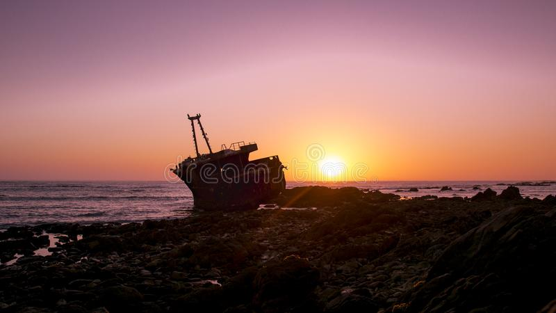Sunset at L`Agulhas South Africa royalty free stock images