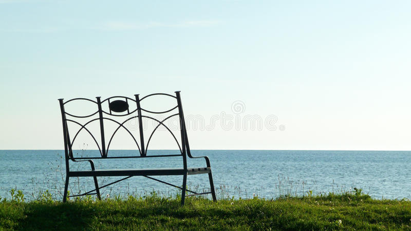 Sunset Shore Bench Royalty Free Stock Photos