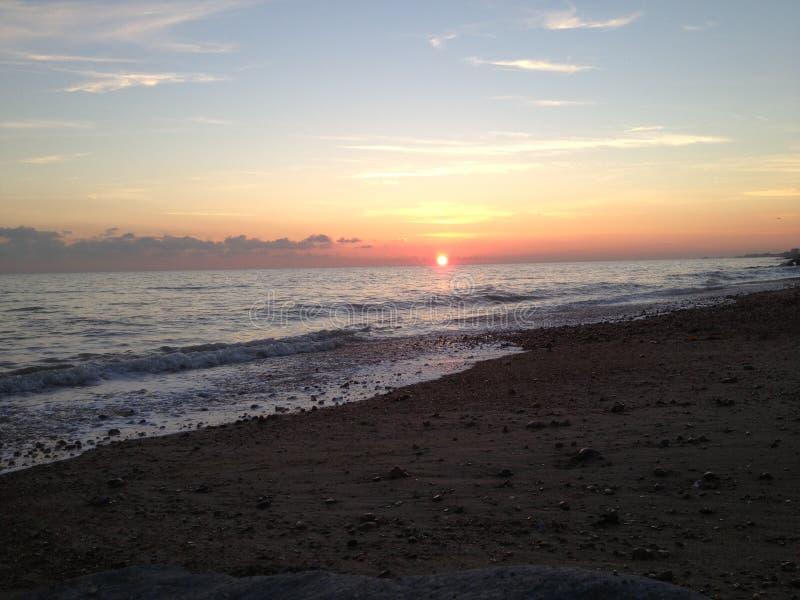 Sunset on Shoreham beach East Sussex royalty free stock image