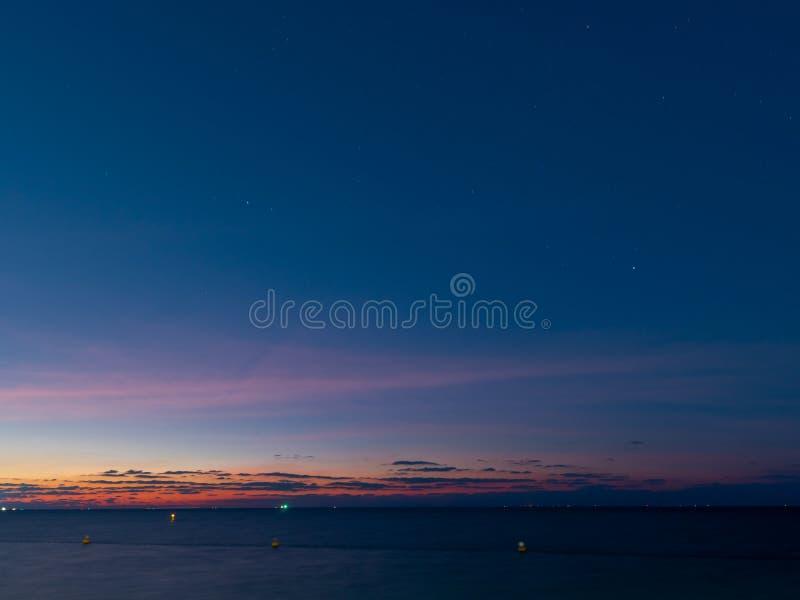 Sunset shot at blue hour at beach front, shot at summer night stock photo