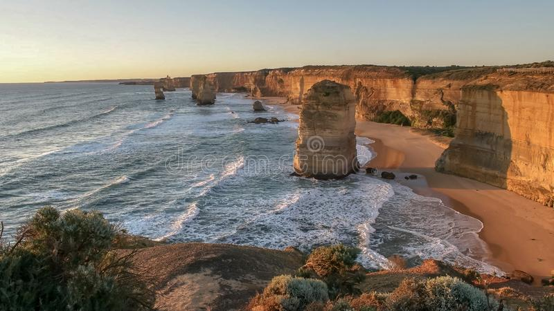 Sunset shot looking west at the twelve apostles on the great ocean road. In victoria, australia royalty free stock photography