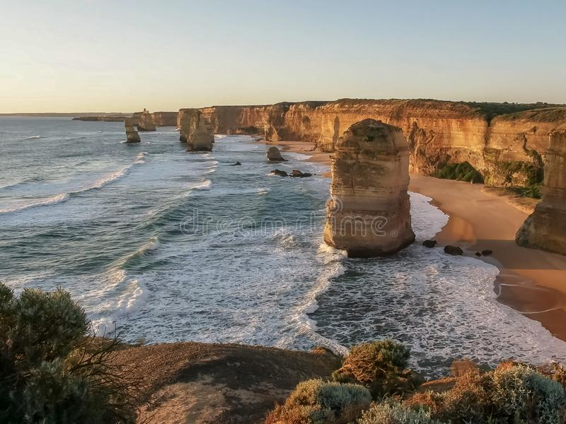 Sunset shot to the west of the twelve apostles on the great ocean road. Sunset shot to the west of the twelve apostles at port campbell on the great ocean road stock photos