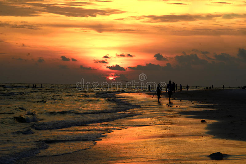 Sunset on Siesta Key Beach royalty free stock images