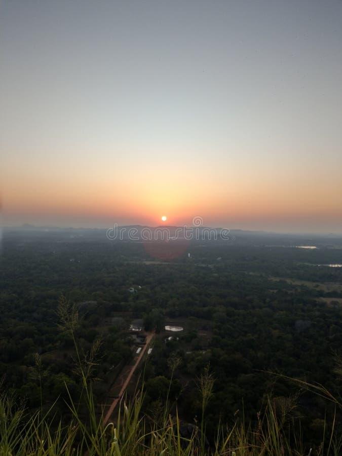 Sunset in Sigiryia, Sri Lanka stock image