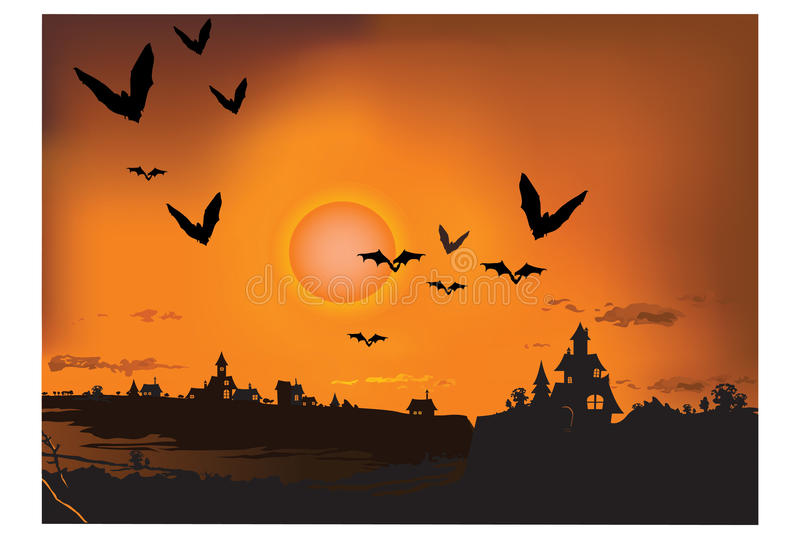 Sunset with silhouette bat stock illustration