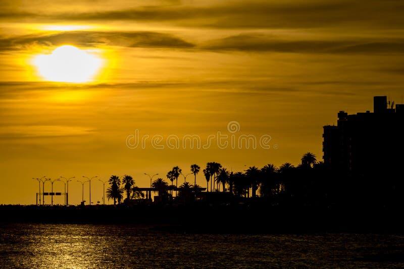 Sunset Coastal Urban Scene, Montevideo, Uruguay stock photo