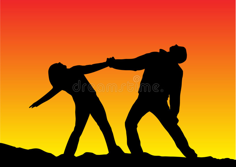Sunset Silhouette Of A Couple Stock Photography