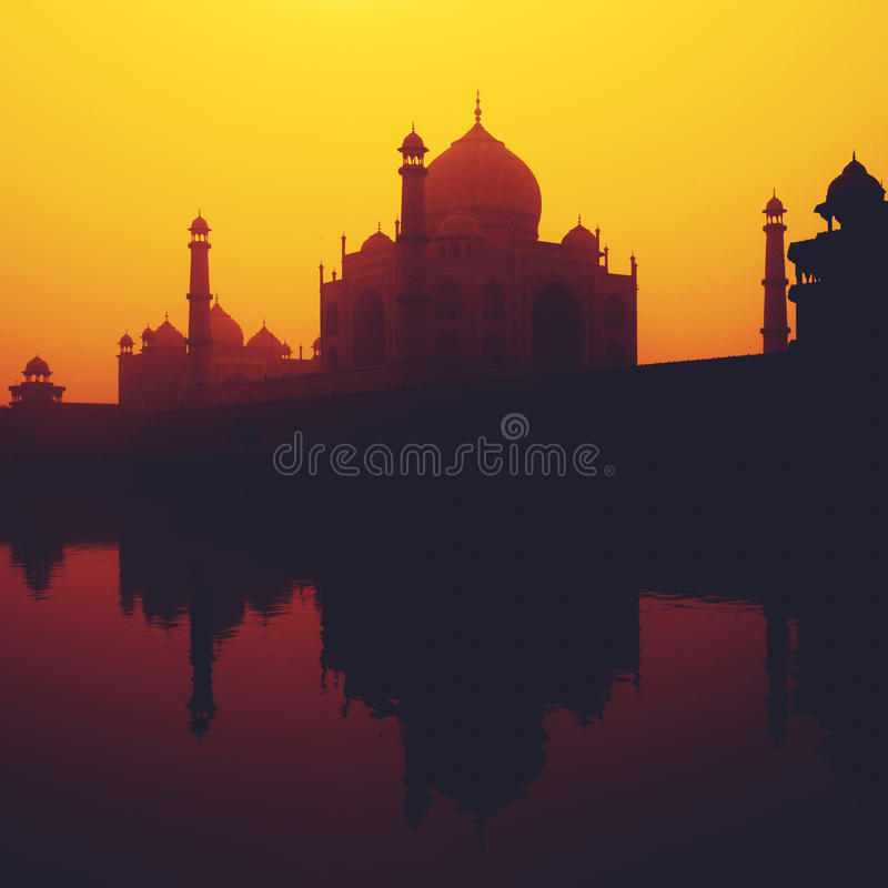 Sunset Silhouette Of A Grand Taj Mahal Famous Place Concept royalty free stock image