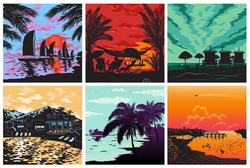 Sunset silhouette set vector sunrise Hawaii palms wave and sun tropical card logo badge summer vacation concept stock illustration
