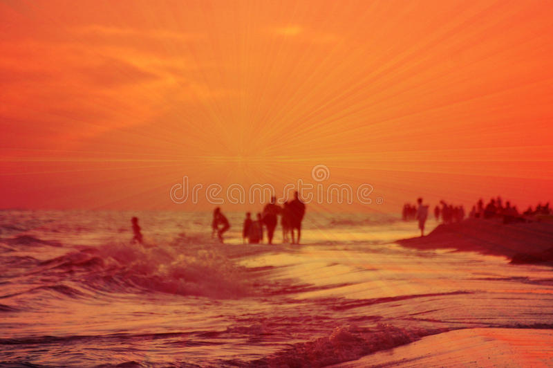 Download Sunset Silhouette On Shoreline Stock Image - Image: 20946083