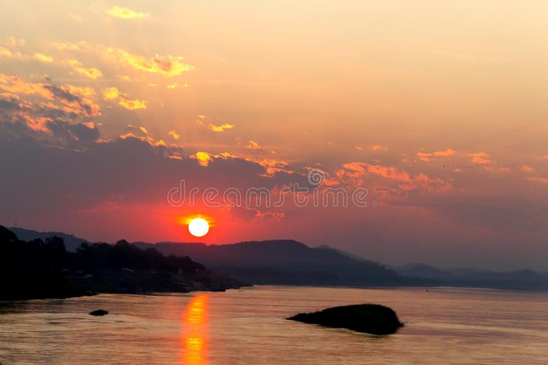 Sunset silhouettel and light golden in evening royalty free stock photography