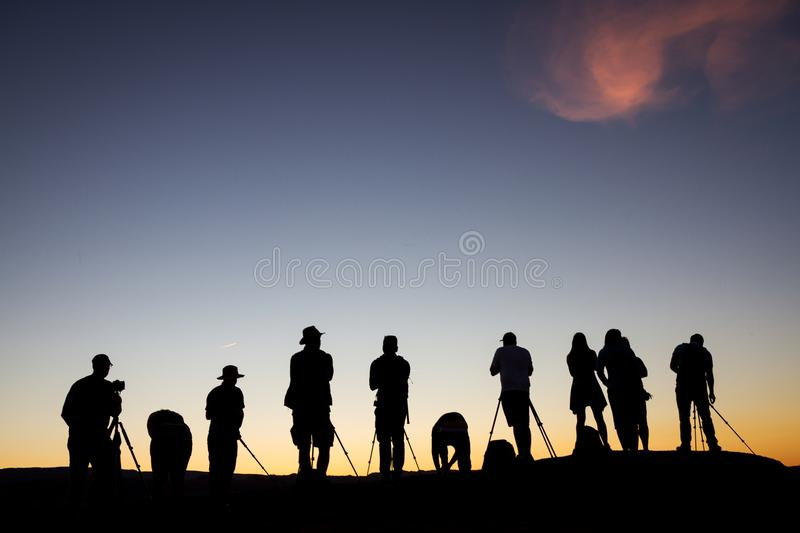 Sunset Silhouettes in Page, AZ royalty free stock images