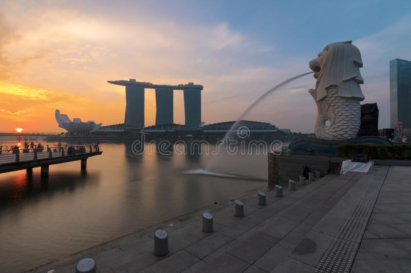 Sunset of Singapore Skyline. Singapore`s business district, blue. Sky and night view for marina bay stock photos