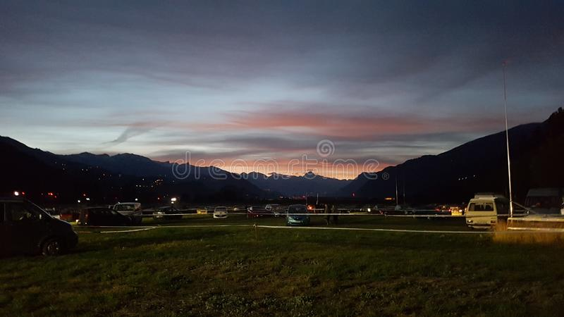 Sunset Sion Switzerland stock images