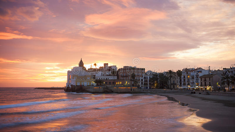 Sunset of sitges royalty free stock photo