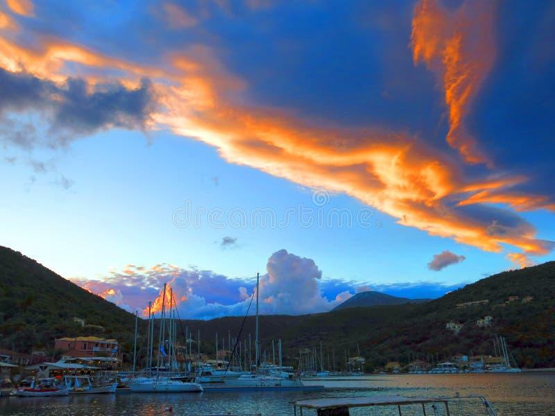 Sunset in Sivota bay stock photography