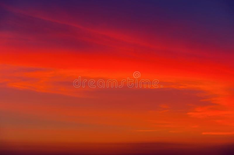 Sunset sky as background. Bright Horizon. royalty free stock photo