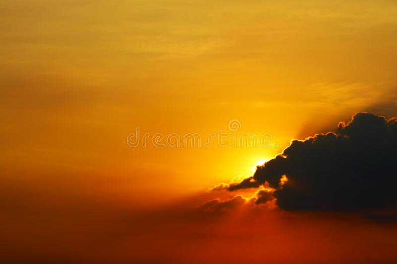 sunset on sky back dark silhouette evening cloud red  background royalty free stock image