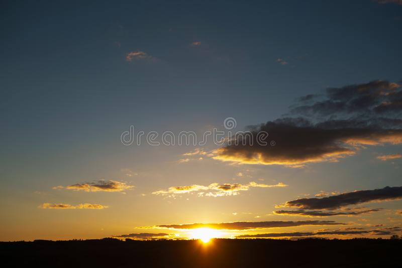 Sunset sky background. Landscape and dramatic sunset or sunrise sky in summer stock photo