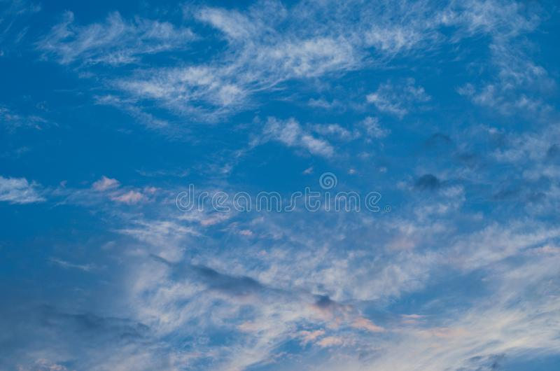 Sunset sky. Bright blue sky. Nature picture for background. Autumn sunset sky. Bright evening sky. Nature picture for background stock image