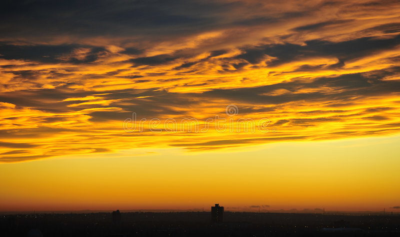Sunset sky and clouds stock photo