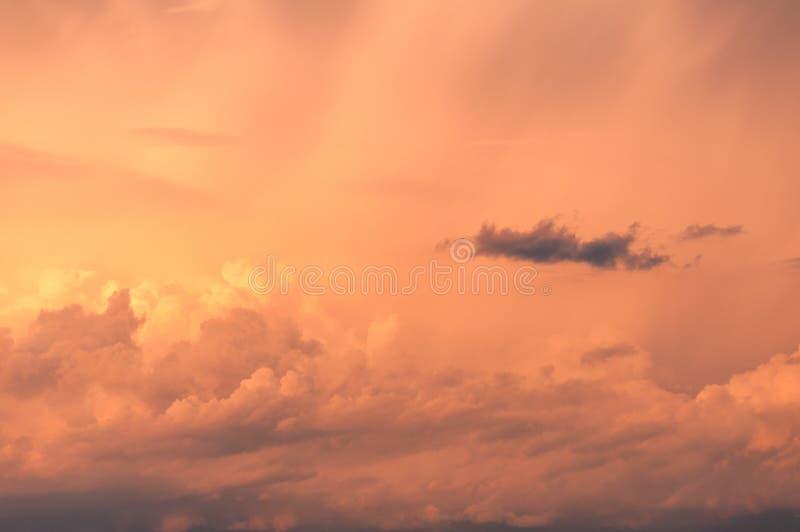 Sunset sky, colorful cloudscape nature background texture. Sunrise, sunset clouds stock image