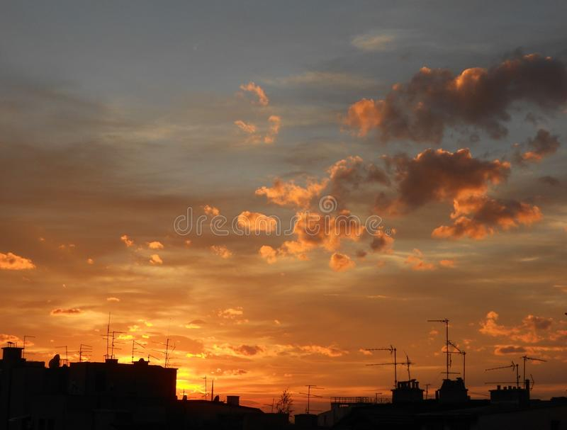 Sunset, Sunset sky, Sunset colors, Window view. Sunset is my favorite color...Amazing sunset photographed from my window in Belgrade, Serbia royalty free stock photos