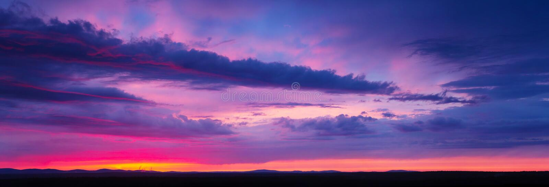 Sunset sky with multicolor clouds. Beautiful sunset sky with multicolor clouds stock photo