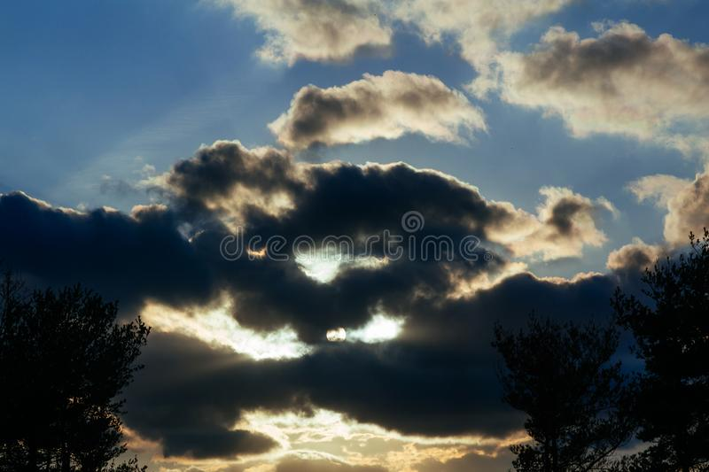 Sunset sky with multicolor clouds. Blue sky during dusk sunrise dawn dramatic sundown nature outdoors beauty beautiful summer cloudscape weather sunlight royalty free stock photo