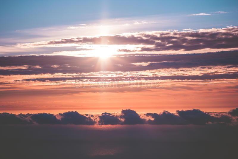 Sunset Sky over clouds Landscape Travel serene scenic view. Flying beautiful natural colors royalty free stock photos