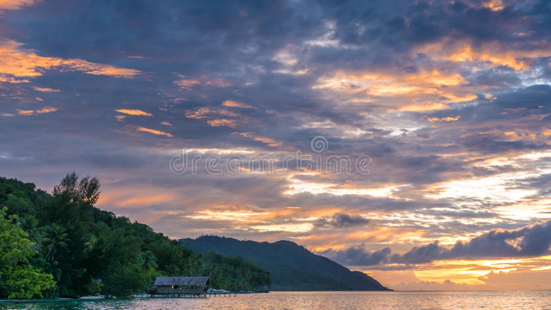 Sunset Sky over Kri and Monsuar, West Papuan, Raja Ampat, Indonesia.  royalty free stock photos