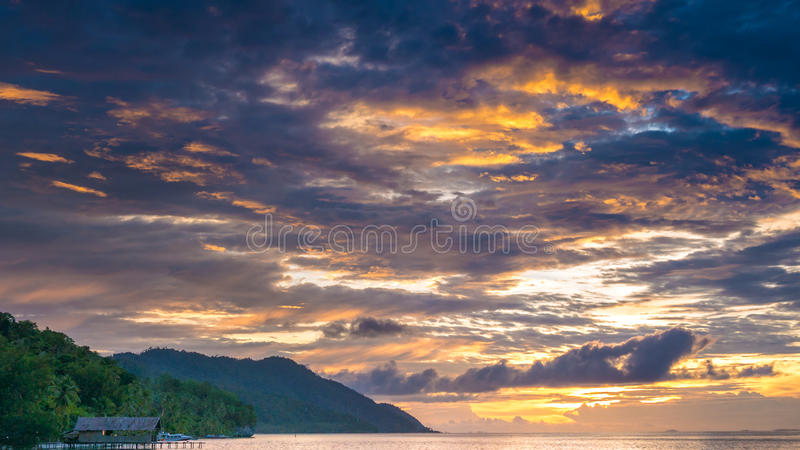Sunset Sky over Kri and Monsuar, West Papuan, Raja Ampat, Indonesia.  royalty free stock image