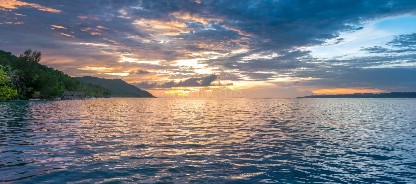 Sunset Sky over Kri and Monsuar, West Papuan, Raja Ampat, Indonesia. Banner stock photos