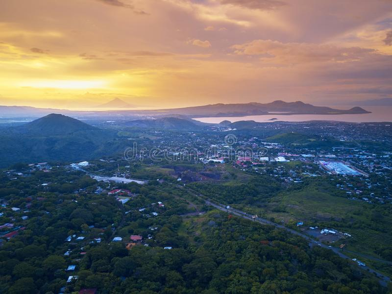 Sunset sky over Managua city stock images