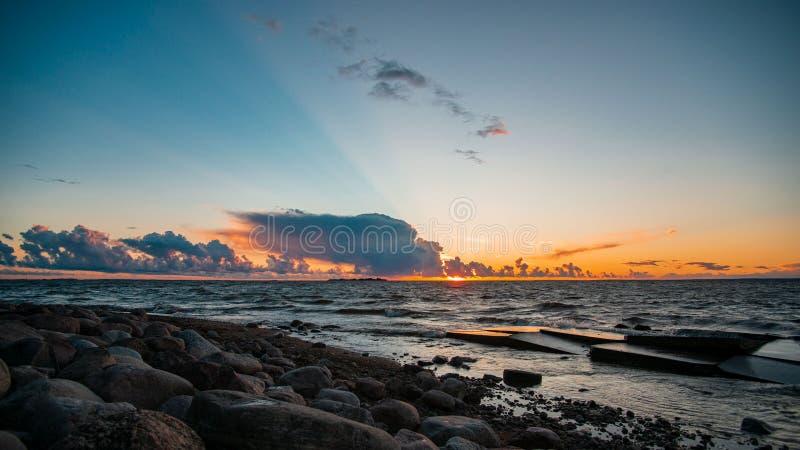Sunset, sky, sea, St. Petersburg Russia. Sunset sky sea st petersburg russia stock photography