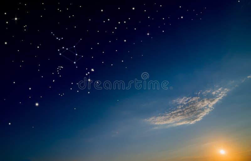 Sunset sky with sun and stars. Sagittarius constellation scheme stock photography
