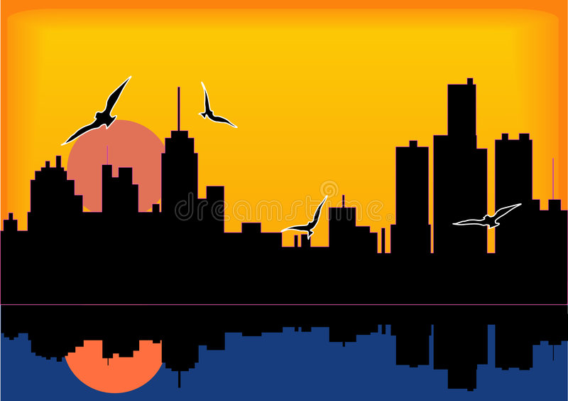 Sunset Skyline. Sunset over a city skyline, reflection cast in water, birds in silhouette against the sky. Vector Illustration in AI8 vector illustration