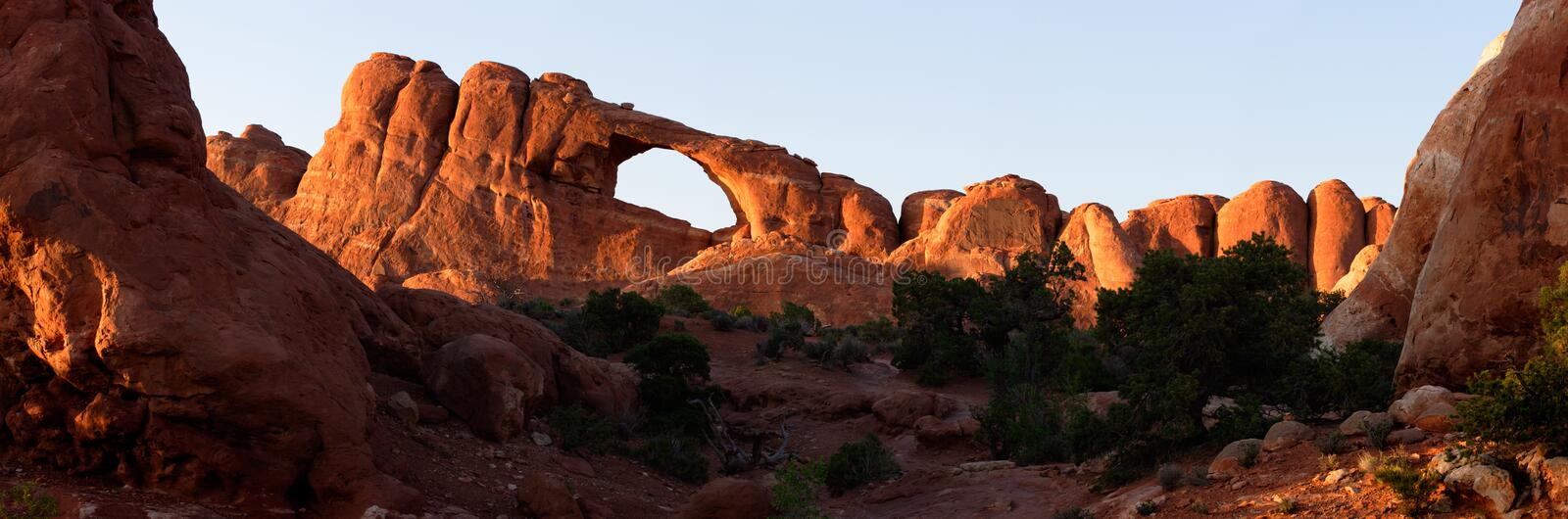 Sunset at Skyline Arch - stitched panorama stock image