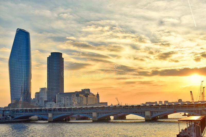 Sunset in the skyline. A beautiful sunset in the skyline, in London city royalty free stock photography