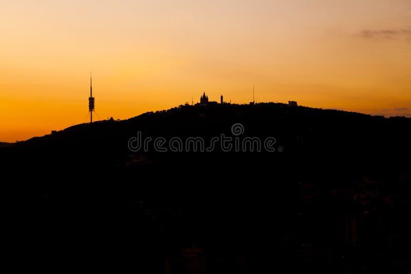 SUNSET SKYLINE OF TIBIDABO, BARCELONA, CATALONIA, SPAIN, stock photo